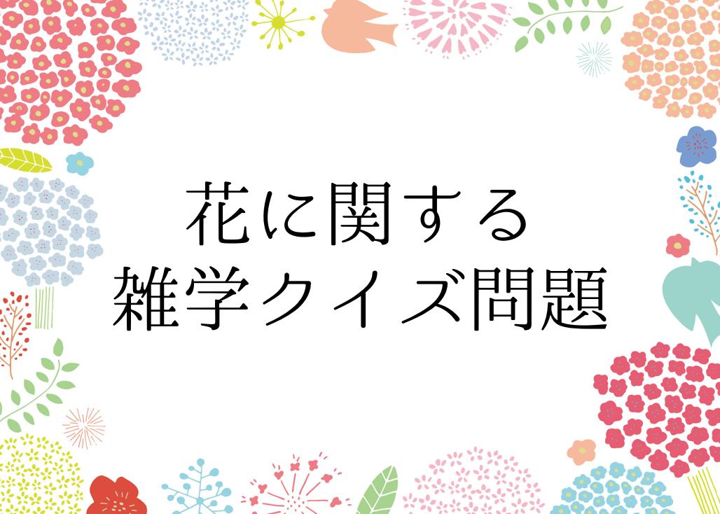 【花に関する雑学クイズ 全20問】高齢者向け!!簡単・面白い豆知識問題を紹介!